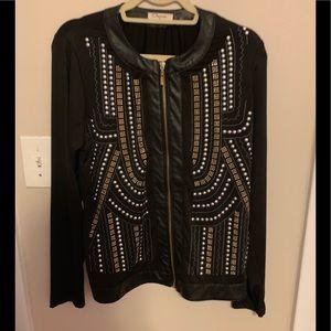 Carmin Clothing - Studded Faux Leather Trim Jacket